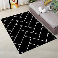 Мягкий коврик для спальни Простой геометрический узор Мягкий противоскользящий моющийся дверной коврик 40x60см