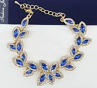 Золотистый браслет с шикарными кристаллами от Бижутерии RRR. 849