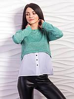 Молодежный свитер-обманка с имитацией рубашки, С,М,Л