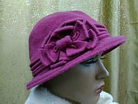 Шляпы RABIONEK из мягкой шерсти с цветком размер 56-57, цвет фуксия