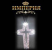 Крест женский прямой серебряный с камнями