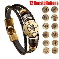Новый стиль 12 созвездий Многослойная кожаная манжета цепи Lucky Charm Bracelet Модные украшения для женщин и мужчин Бронзовый сплав Пряжки