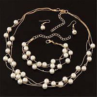 Мода Шарм Свадебные жемчужины Посеребренные ожерелье Серьги Браслет Набор Женщины Обручальные Свадебные украшения Наборы праздничных подарков