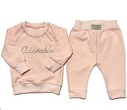 """Дизайнерский Костюм """"Обожаемая"""" 1,5/2/3 года Andriana Kids в подарочной коробке розовый"""