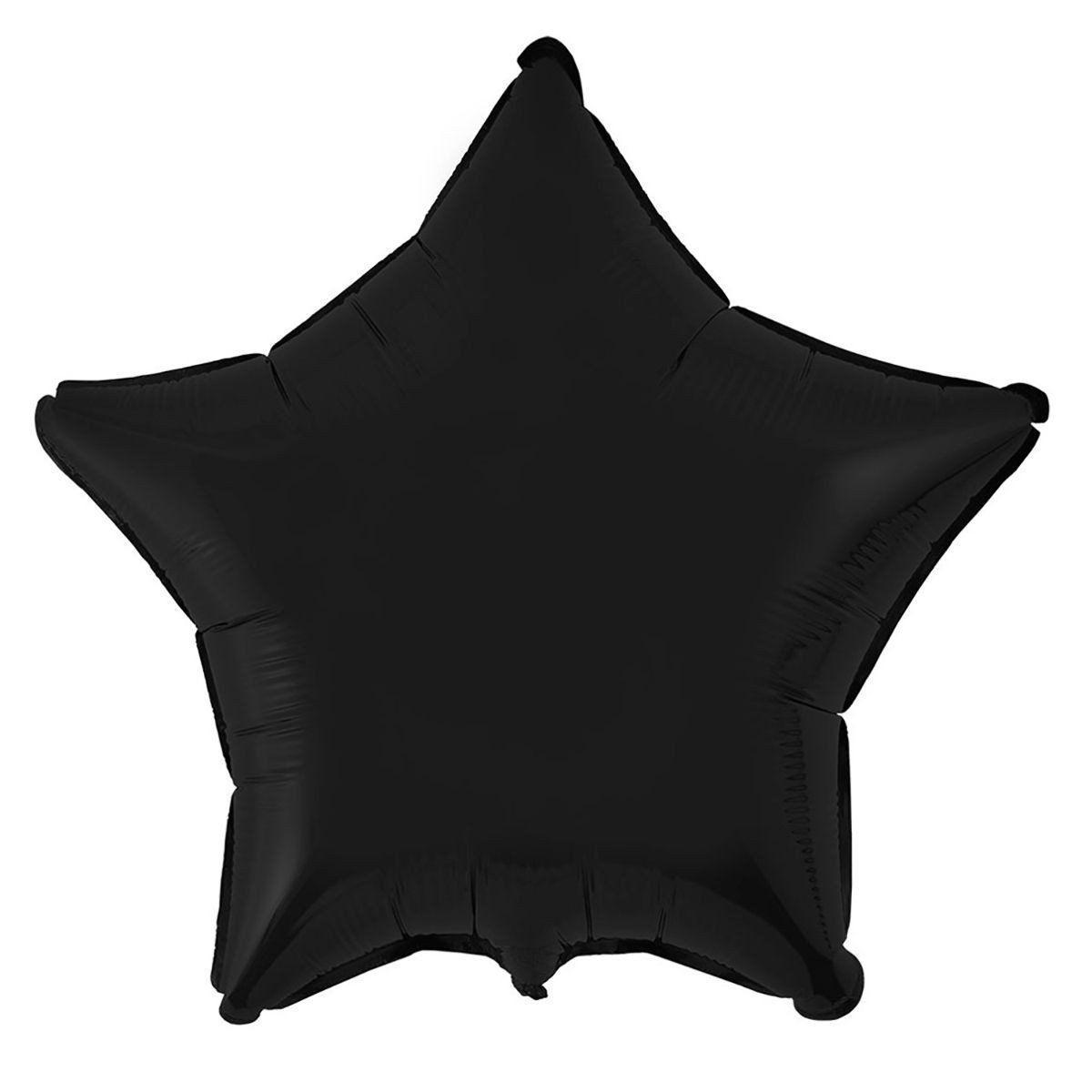 """Фольгированные шары без рисунка  18"""" Звезда черная (FlexMetal)"""