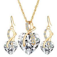 Позолоченные наборы ювелирных изделий для женщин Кристалл Сердце Ожерелье Серьги Украшения Свадебные аксессуары Белый