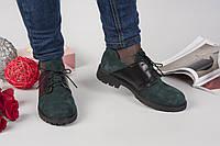 Туфли женские натуральная замша цвет изумруд