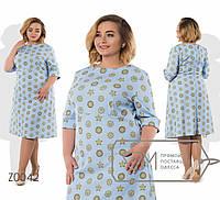Весеннее женское платье из принтованого крепа батал с 56 по 62 размер