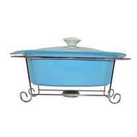 Мармит фарфоровый 2 л голубого цвета со стеклянной крышкой KRAUFF 21-258-007, фото 1