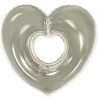 Фольгированные шары без рисунка 85х80 см  Сердце серебрянное (FlexMetal)