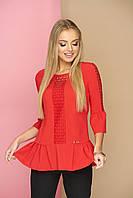 """Милая женская блузка со вставками из сетки, оборками внизу и на рукавах """"Мьюзик"""" (красный)"""