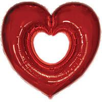 Фольгированные шары без рисунка 85х80 см  Сердце красное (FlexMetal)