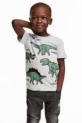 Стильная детская футболка Дино H&M на мальчика но рост 134-140 см