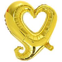 Фольгированные шары без рисунка 85х80 см  Сердце золото вензель (FlexMetal)