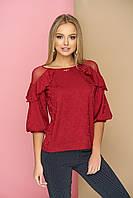 """Красивая женская нарядная блузка с рюшами и сеткой на плечах, рукав-фонарик """"Анабель"""" (красный)"""