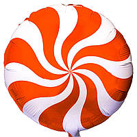 """Фольгированные шары с рисунком 18"""" конфета оранжевая FlexMetal"""