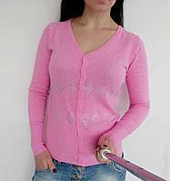 Кофточка кашемировая на пуговичках в стразах - розовый, фото 1