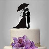 Невеста и жених Романтический черный акриловый торт Topper для свадебного украшения День святого Валентина Чёрный