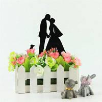 Невесты жениха и собаки Романтический торт Topper для свадебного украшения День святого Валентина Чёрный