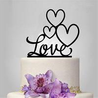 Романтический любовный торт Topper для свадебного украшения День святого Валентина Чёрный