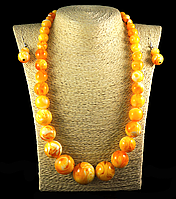 Набор из янтарной смолы шар на увеличение, желтый с разводами, фото 1