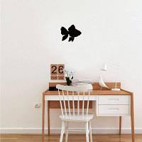 Приморский морской океан Черный цвет Золотая рыба Виниловая наклейка для стены Креативный мультфильм Animal Silhouett 12.5 x 15 cм