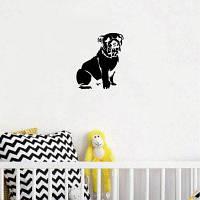 DSU Cute Сидящий бульдог силуэт виниловые наклейки стены Креативный мультфильм животных стены декор 15.3 x 12.8 cм