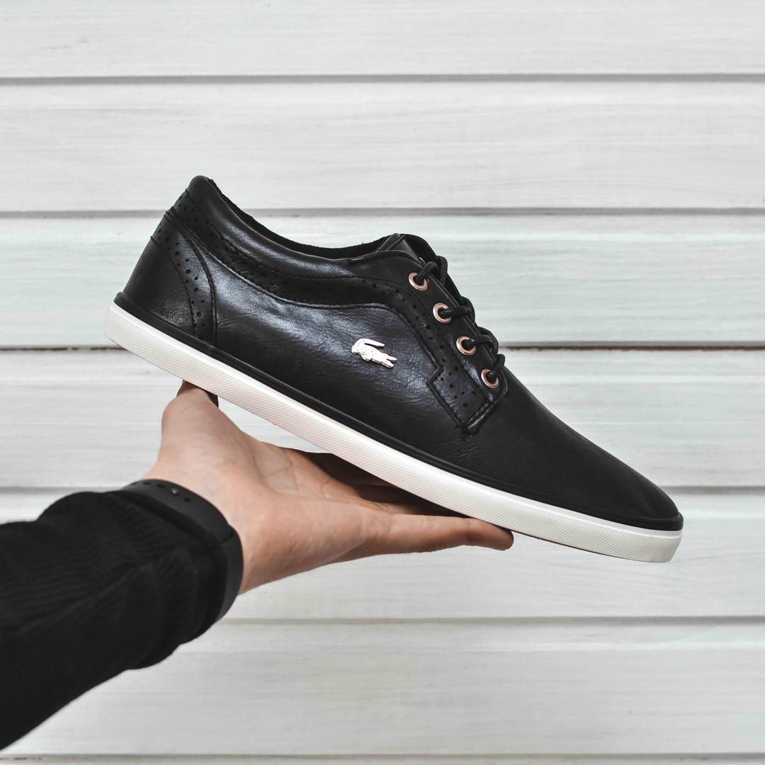 9a27b143 Мужские кроссовки\кеды Lacoste Leather Low Black (Реплика AAA+) -  Интернет-магазин
