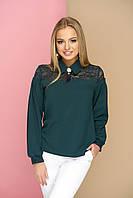 """Женская нарядная блузка с ажурным кружевом и брошью,длинный рукав """"Жозефина"""" (зеленый)"""
