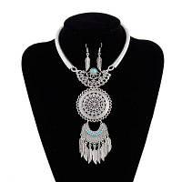 Женская леди Vintage Tassel перо листы подвески Choker Diamond металла ожерелье серьги комплект ювелирных изделий Серебристый