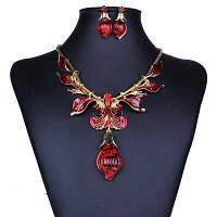 Женщины Девушки Алмазная Листья Капля воды Кулон Ожерелье с Серьги Комплект ювелирных изделий Красный