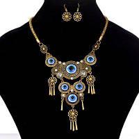 Женщины Девушки Vintage Big Blue Eyes Pendants Металл Choker Мода ожерелье серьги комплект ювелирных изделий Золотой