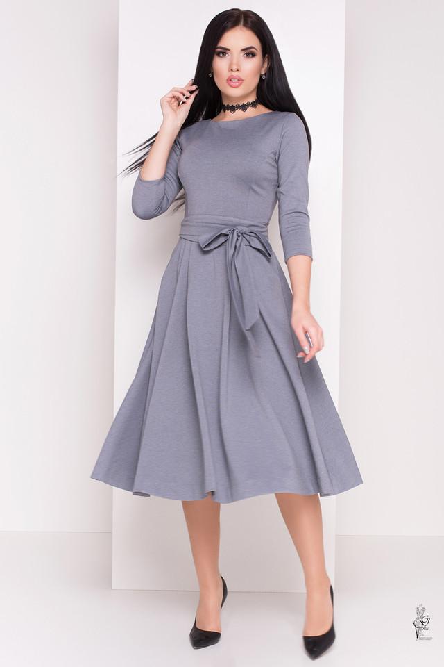 Серый цвет Трикотажного платья миди с юбкой солнце Сюзет