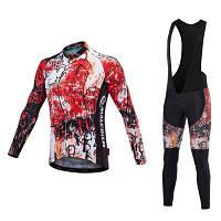 Malciklo 18 мужской зимний теплый компрессионный костюм с нагрудником для велоспорта 2XL