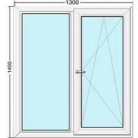 Металлопластиковое окно двустворчатое 1300*1400 Steko S300