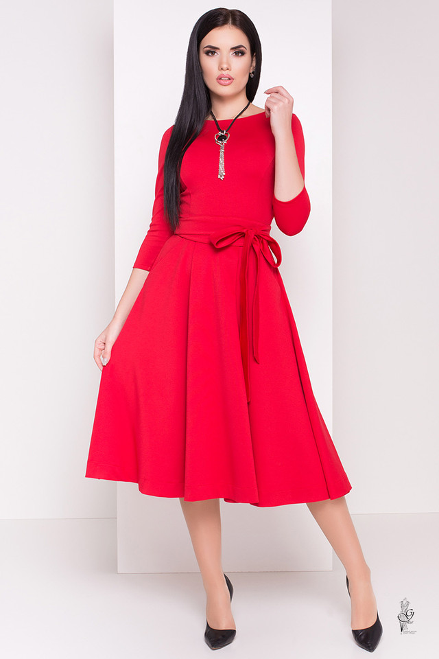 Фото Трикотажного платья миди с юбкой солнце Сюзет-3
