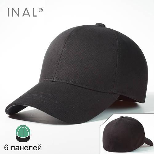Кепка бейсболка, 6 панелей, Хлопок, Черный, Inal