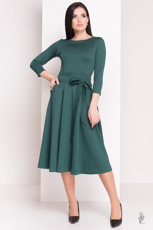 Зеленый цвет Трикотажного платья миди с юбкой солнце Сюзет