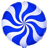 """Фольгированные шары с рисунком 18"""" конфета голубая FlexMetal"""