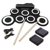 Портативные электронные комплекты ударных инструментов Складной практический инструмент черно-белый