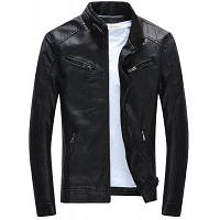 Мужская зимняя куртка Мотоциклетная кожаная куртка с тепловым покрытием L