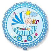 """Фольгированные шары с рисунком 18"""" коляска и малыш мальчик FlexMetal"""