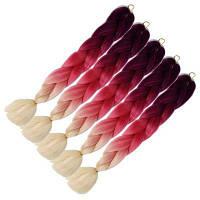 5PCS 3 Tone Ombre Jumbo Плетеные наращивания волос 24-дюймовые вязальные крючки с высокой температурой Kanekalon Synthetic Fiber Twist 5 наборов 24