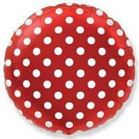 """Фольгированные шары с рисунком 18"""" горошек на красном FlexMetal"""