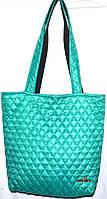 Стеганная сумка из плотной ткани,водонепроницаемая(зеленый)30*35см