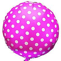 """Фольгированные шары с рисунком 18"""" горошек на розовом FlexMetal"""