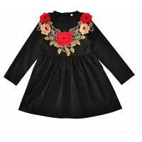 Платья для девочек SOSOCOER Весенние и осенние цветы Вышитая черная юбка 90