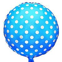 """Фольговані кульки з малюнком 18"""" горошок на блакитному FlexMetal"""