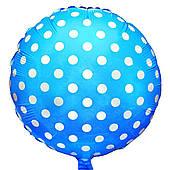 """Фольгированные шары с рисунком 18"""" горошек на голубом FlexMetal"""