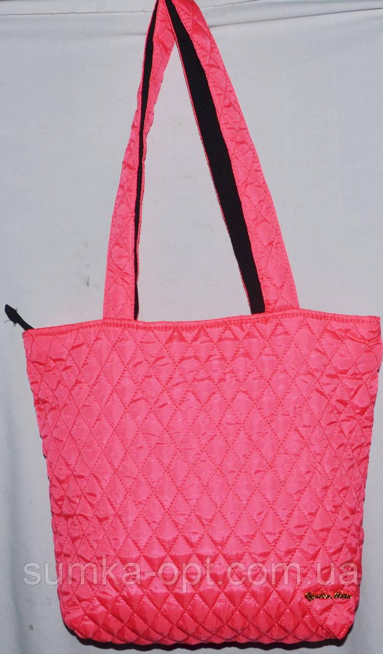 Стеганная сумка из плотной ткани,водонепроницаемая (ярко-розовый)30*35см